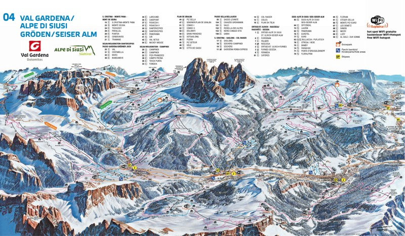 Val Gardena trail map
